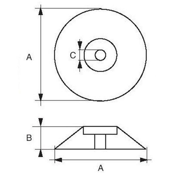 Anodo a rosa per timoni e flaps D. 50 mm