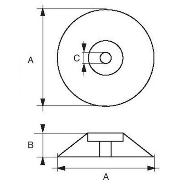 Anodo a rosa per timoni e flaps D. 70 mm