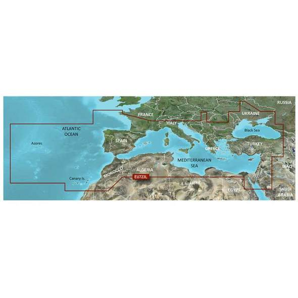 Carta Garmin Bluechart G3 HD Vision Large - Mar Mediterraneo