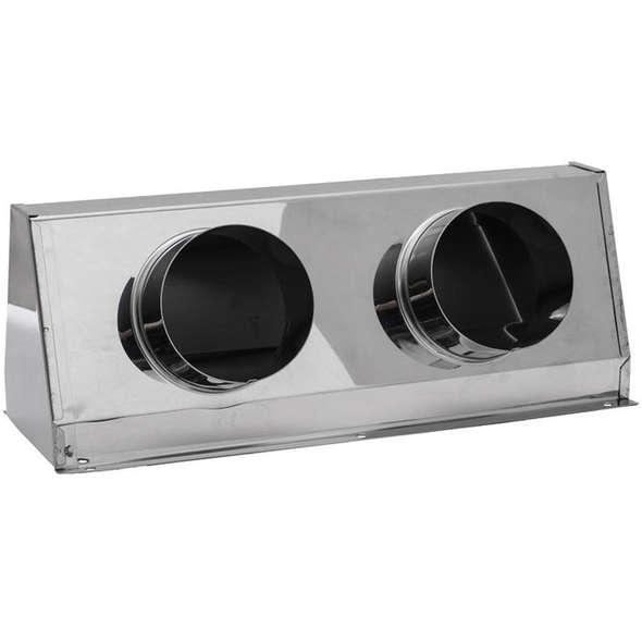 Cassonetto d'aerazione inox per 2 tubi mm 75