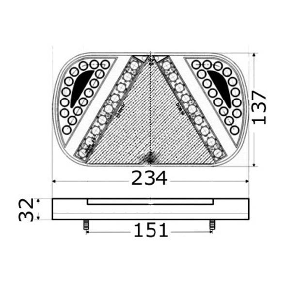 Fanale posteriore carrello a LED DX/SX a 4 luci