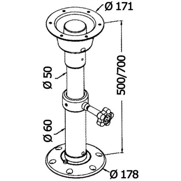 Gamba Tavolo in Alluminio Anodizzato Tread Lock Universale 500/700 mm