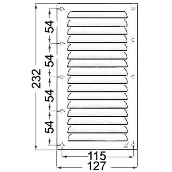 Griglia rettangolare inox con rete antizanzare mm 232 x 127