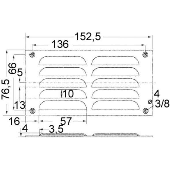 Griglia rettangolare inox con rete antizanzare mm 76 x 152
