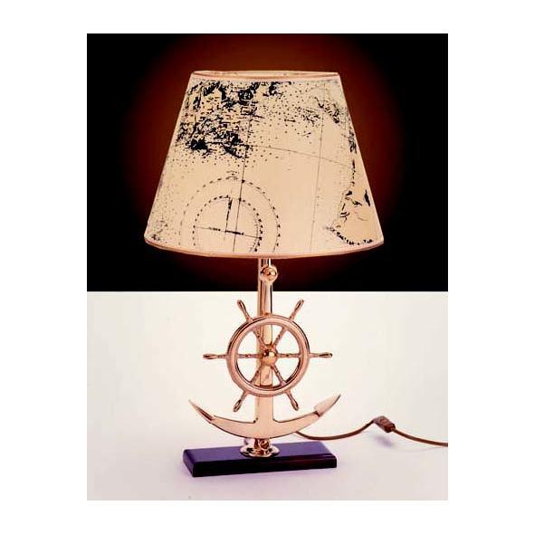 Lampada Ancora + Timone ottone. Paralume pergamena