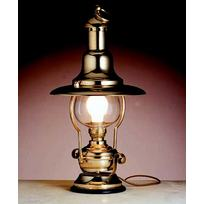 Lampada ottone lucido. Base legno