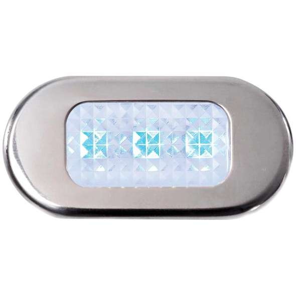 Luce di cortesia stagna a LED blu cornice inox