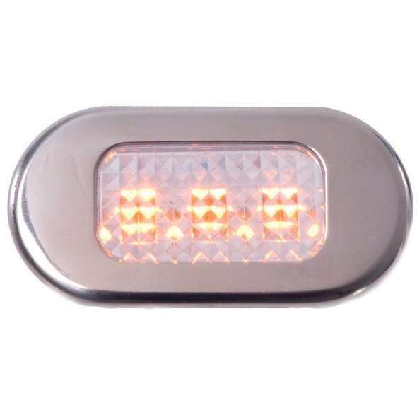 Luce di cortesia stagna a LED gialli cornice inox