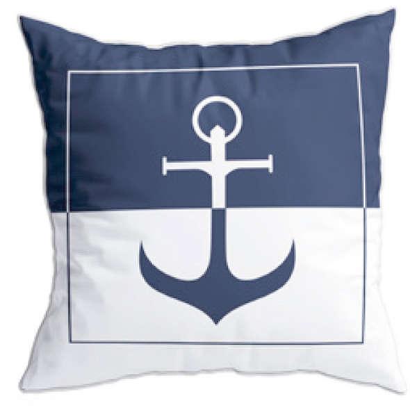 MB Cuscino Ricamato Anchor - Blue Navy/Bianco