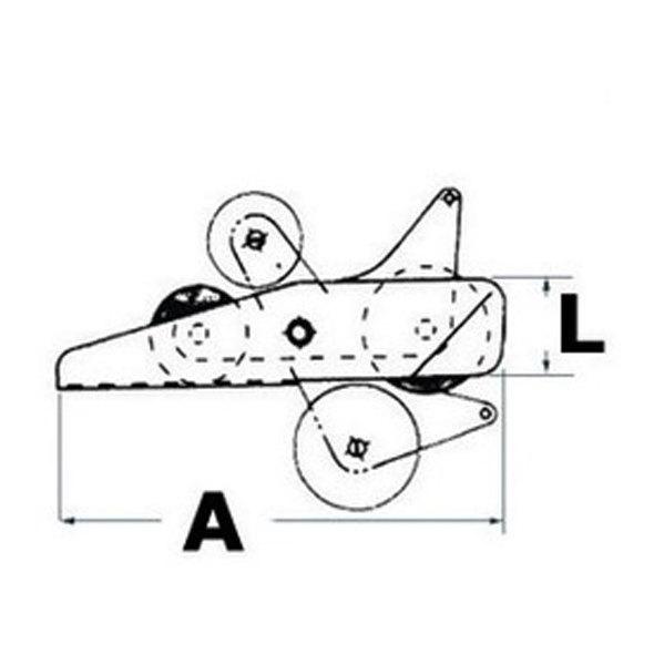 Musone a ribalta inox per ancore fino a 14 kg