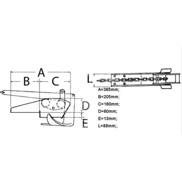 Musone di prua a ribalta alluminio l. 385 mm