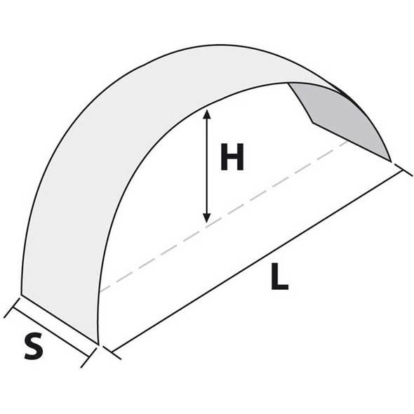 Parafango per ruota carrello 1500x410x240 mm.