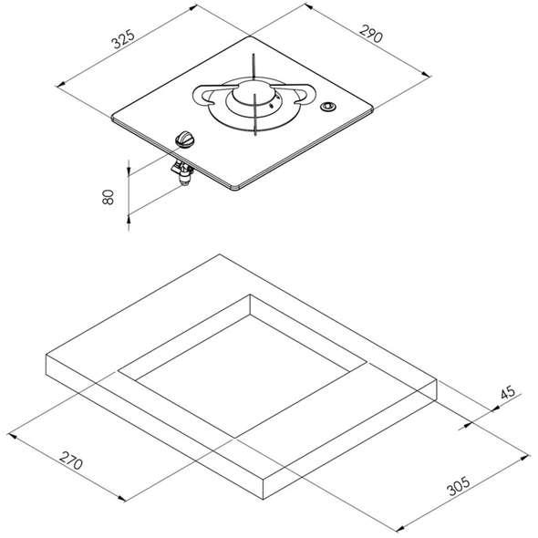 Piano cottura vetro cristallo 1 fuoco Can