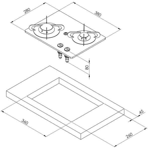 Piano cottura vetro cristallo 2 fuochi 380x280 Can