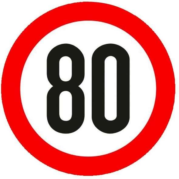 Segnale velocità omologato adesivo 80 Km/h