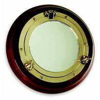 Specchio Oblò Ottone su base legno
