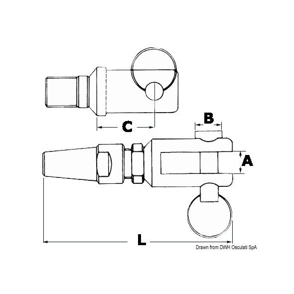 Terminale piombatura a forcella inox mm. 4